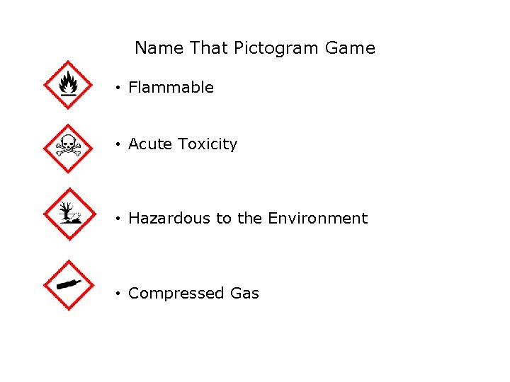 Safety Name That Pictogram Game • Flammable • Acute Toxicity • Hazardous to the