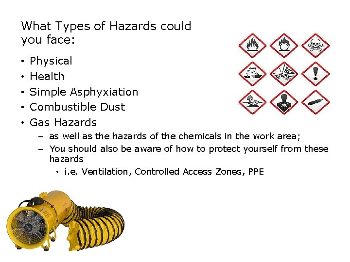 SAFETY What Types of Hazards could you face: • • • Physical Health Simple