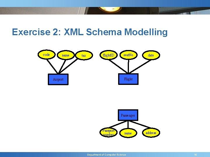 Exercise 2: XML Schema Modelling code name tax flight. ID seat. No date Flight