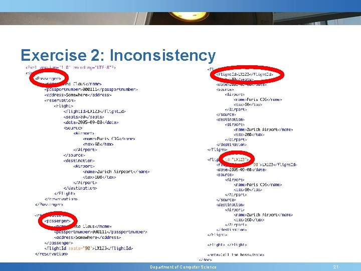 Exercise 2: Inconsistency Department of Computer Science 21