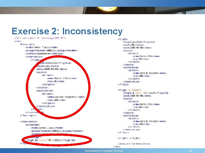 Exercise 2: Inconsistency Department of Computer Science 22