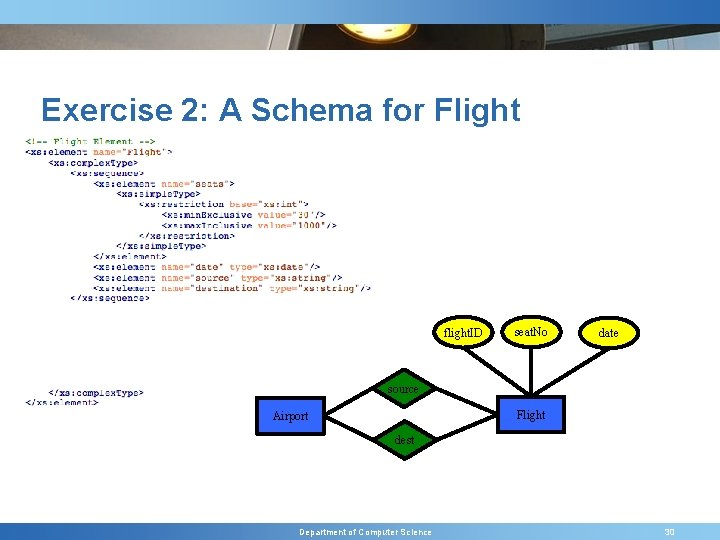 Exercise 2: A Schema for Flight flight. ID seat. No date source Flight Airport