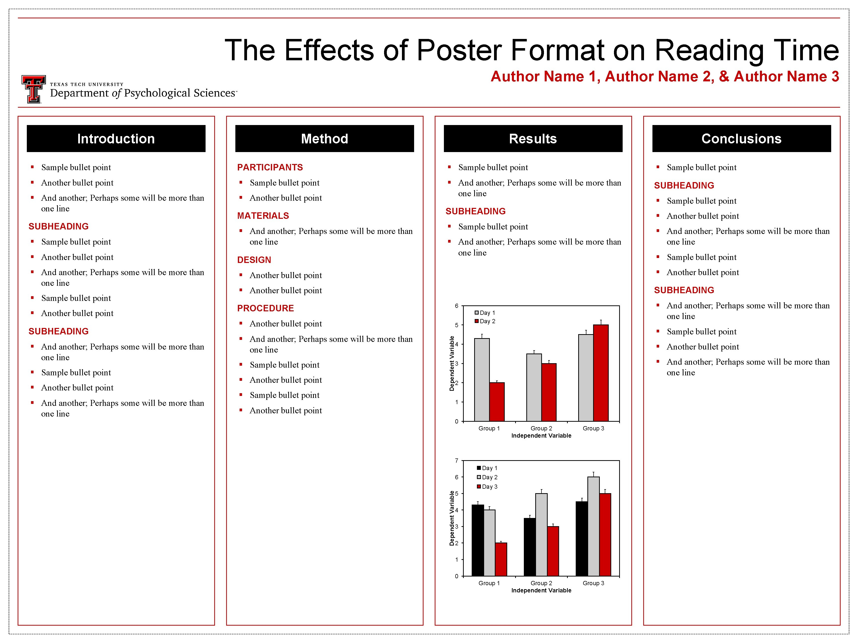 The Effects of Poster Format on Reading Time Author Name 1, Author Name 2,
