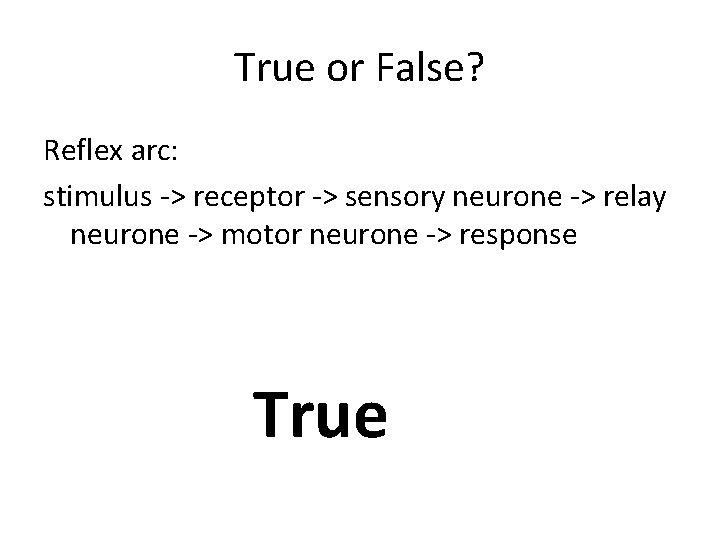 True or False? Reflex arc: stimulus -> receptor -> sensory neurone -> relay neurone