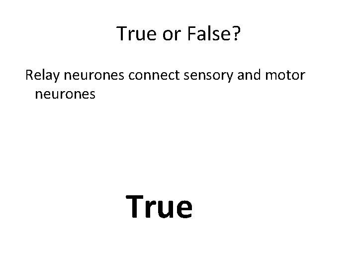 True or False? Relay neurones connect sensory and motor neurones True