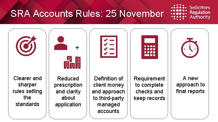 SRA Accounts Rules: 25 November + Clearer and sharper rules setting the standards Reduced