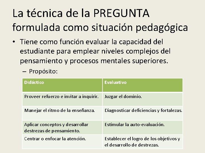 La técnica de la PREGUNTA formulada como situación pedagógica • Tiene como función evaluar