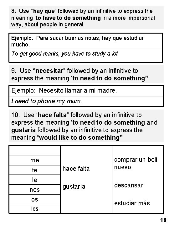 "8. Use ''hay que"" followed by an infinitive to express the meaning 'to have"