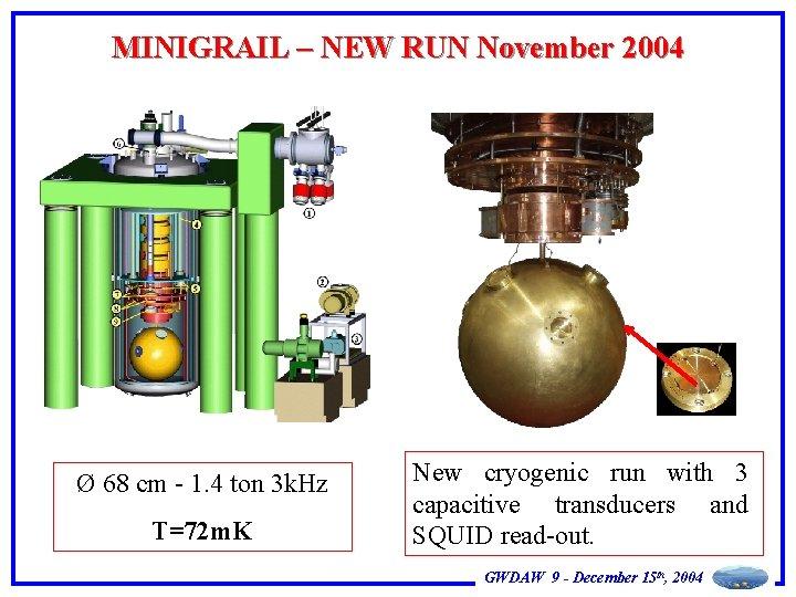 MINIGRAIL – NEW RUN November 2004 Ø 68 cm - 1. 4 ton 3