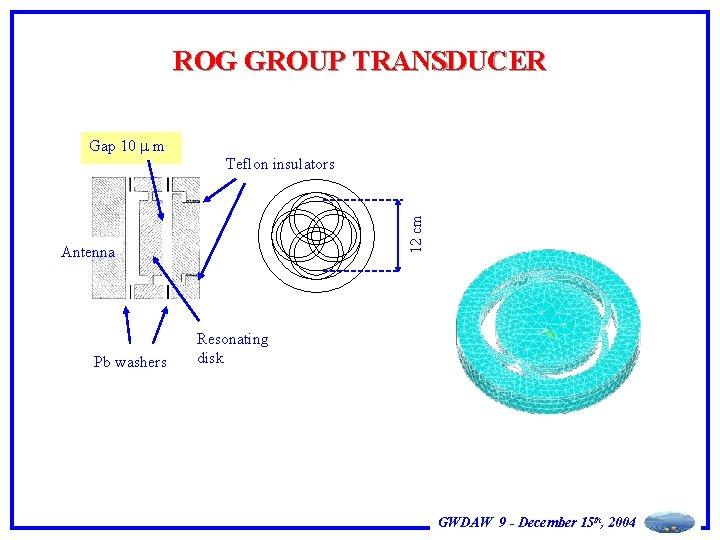 ROG GROUP TRANSDUCER Gap 10 m 12 cm Teflon insulators Antenna Pb washers •