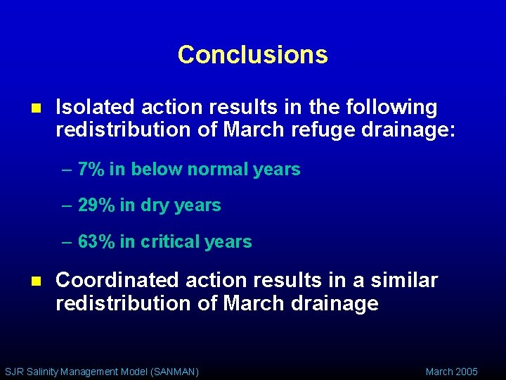 Conclusions n Isolated action results in the following redistribution of March refuge drainage: –