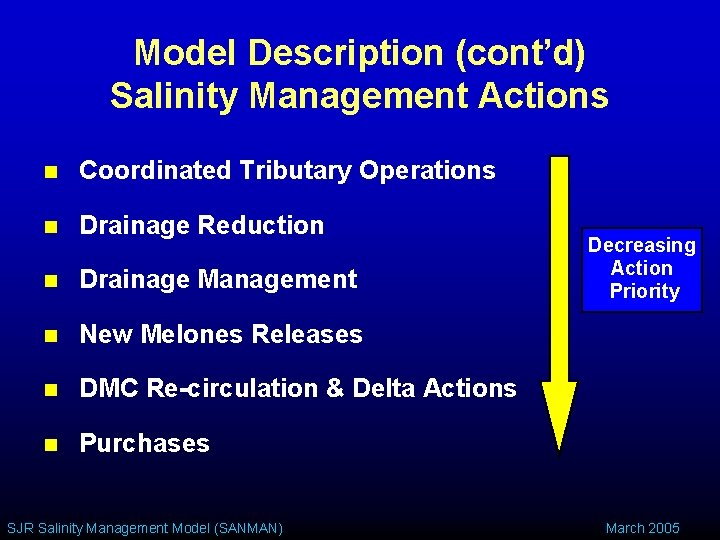 Model Description (cont'd) Salinity Management Actions n Coordinated Tributary Operations n Drainage Reduction n