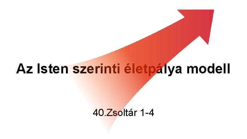 Az Isten szerinti életpálya modell 40. Zsoltár 1 -4