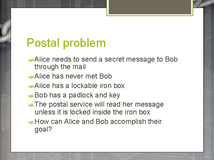 Postal problem Alice needs to send a secret message to Bob through the mail