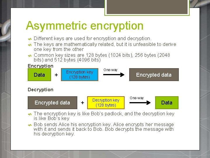 Asymmetric encryption Different keys are used for encryption and decryption. The keys are mathematically
