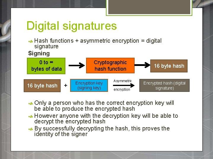 Digital signatures Hash functions + asymmetric encryption = digital signature Signing 0 to ∞