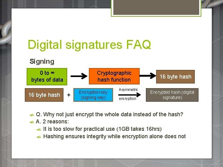 Digital signatures FAQ Signing 0 to ∞ bytes of data 16 byte hash Cryptographic