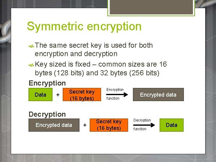 Symmetric encryption The same secret key is used for both encryption and decryption Key