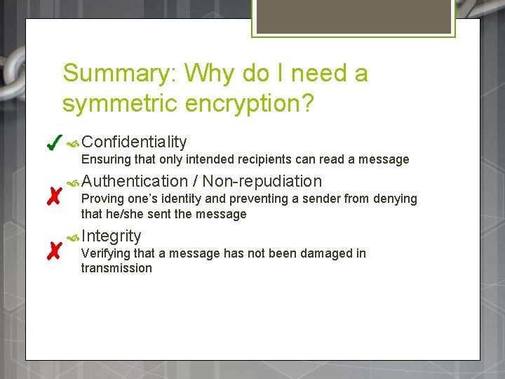 Summary: Why do I need a symmetric encryption? Confidentiality Ensuring that only intended recipients