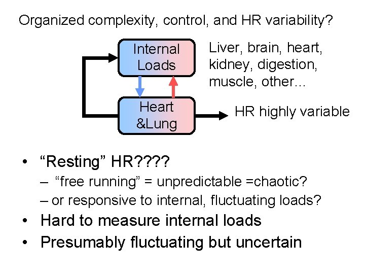 Organized complexity, control, and HR variability? Internal Loads Heart &Lung Liver, brain, heart, kidney,