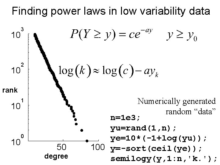 Finding power laws in low variability data 10 10 3 2 rank 10 10