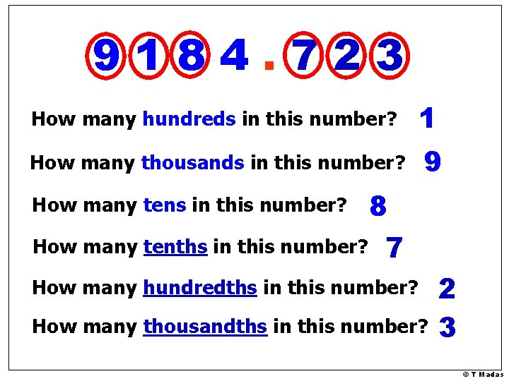 9184. 723 How many hundreds in this number? 1 How many thousands in this