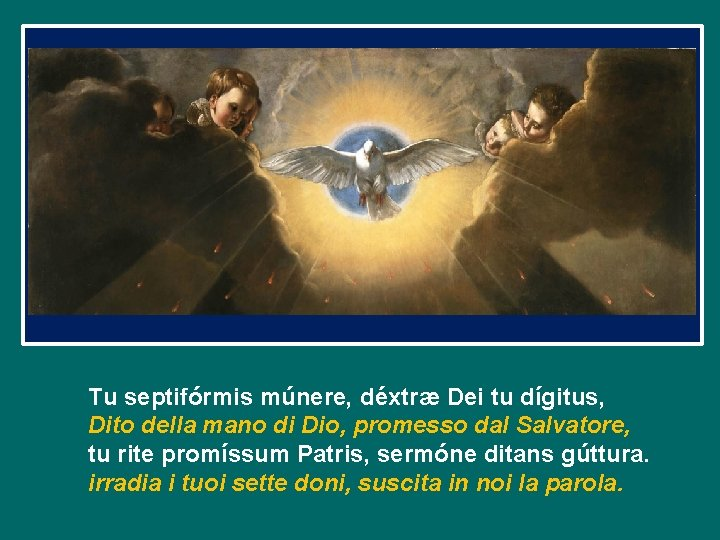 Tu septifórmis múnere, déxtræ Dei tu dígitus, Dito della mano di Dio, promesso dal