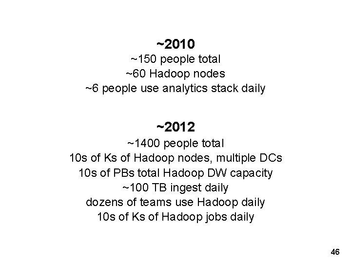 ~2010 ~150 people total ~60 Hadoop nodes ~6 people use analytics stack daily ~2012