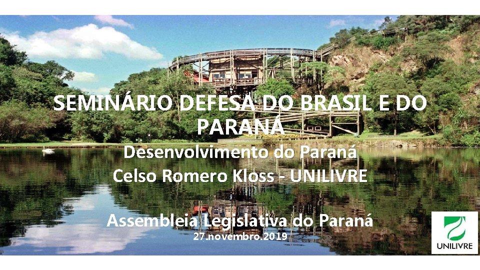 SEMINÁRIO DEFESA DO BRASIL E DO PARANÁ Desenvolvimento do Paraná Celso Romero Kloss -