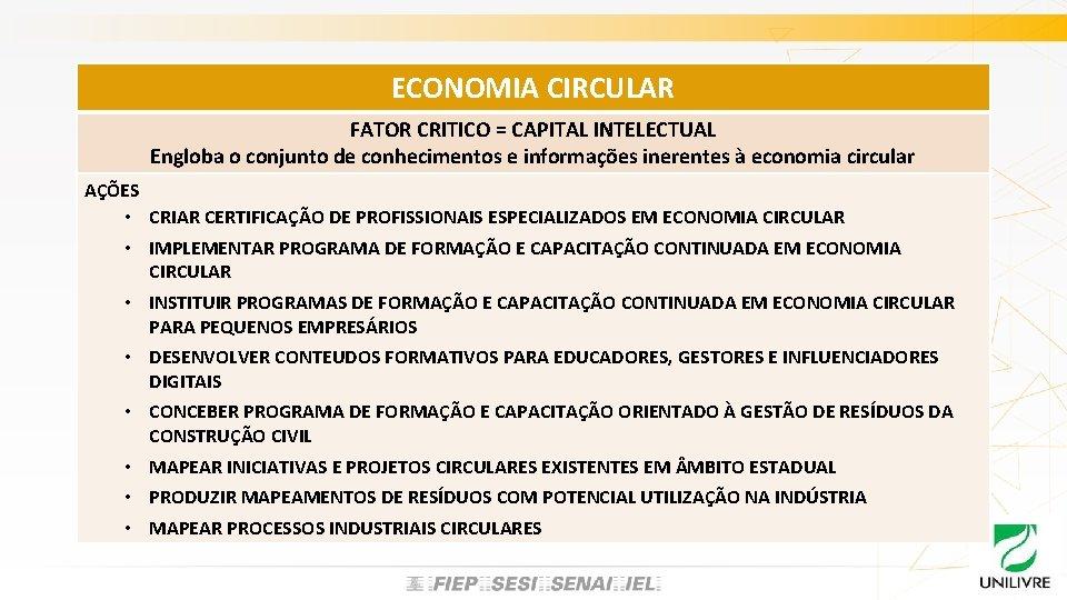 ECONOMIA CIRCULAR FATOR CRITICO = CAPITAL INTELECTUAL Engloba o conjunto de conhecimentos e informações