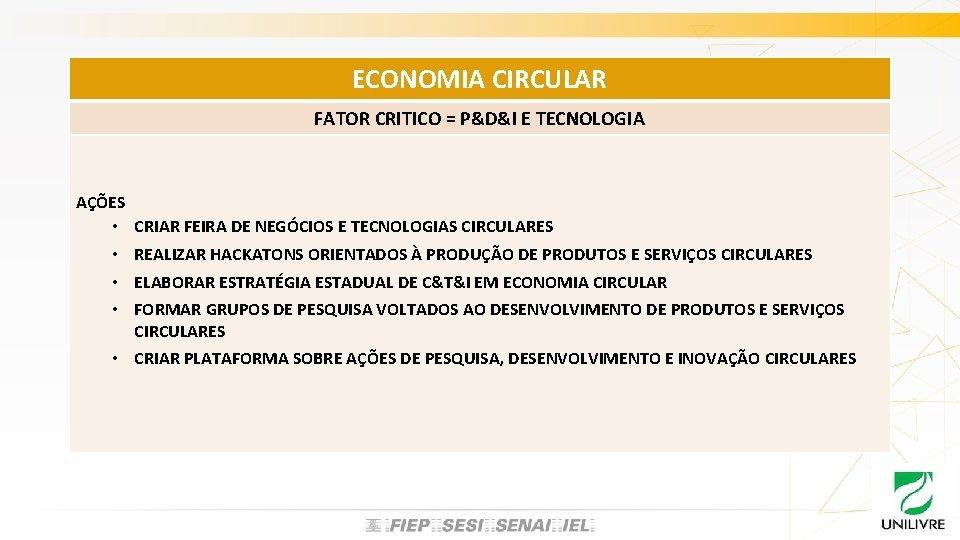 ECONOMIA CIRCULAR FATOR CRITICO = P&D&I E TECNOLOGIA AÇÕES • CRIAR FEIRA DE NEGÓCIOS