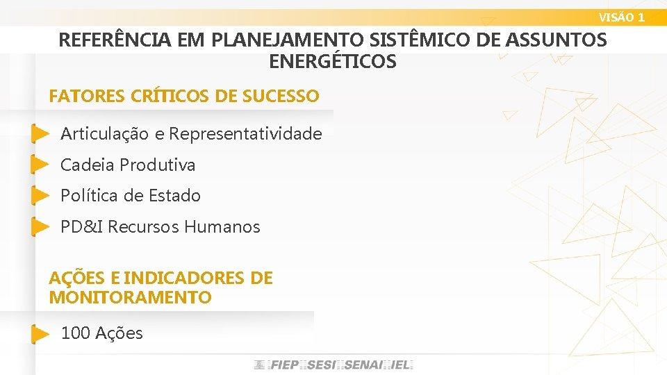 VISÃO 1 REFERÊNCIA EM PLANEJAMENTO SISTÊMICO DE ASSUNTOS ENERGÉTICOS FATORES CRÍTICOS DE SUCESSO Articulação
