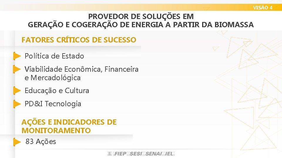VISÃO 4 PROVEDOR DE SOLUÇÕES EM GERAÇÃO E COGERAÇÃO DE ENERGIA A PARTIR DA