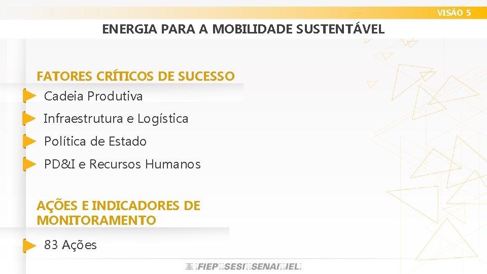 VISÃO 5 ENERGIA PARA A MOBILIDADE SUSTENTÁVEL FATORES CRÍTICOS DE SUCESSO Cadeia Produtiva Infraestrutura
