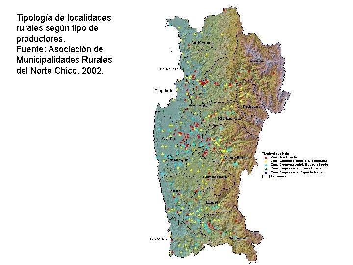 Tipología de localidades rurales según tipo de productores. Fuente: Asociación de Municipalidades Rurales del