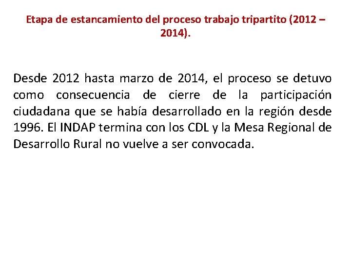 Etapa de estancamiento del proceso trabajo tripartito (2012 – 2014). Desde 2012 hasta marzo