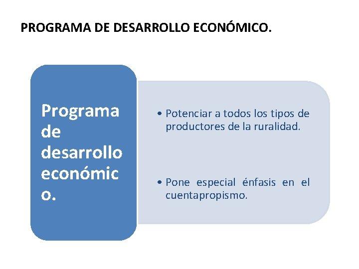 PROGRAMA DE DESARROLLO ECONÓMICO. Programa de desarrollo económic o. • Potenciar a todos los