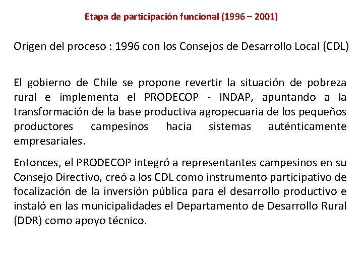 Etapa de participación funcional (1996 – 2001) Origen del proceso : 1996 con los