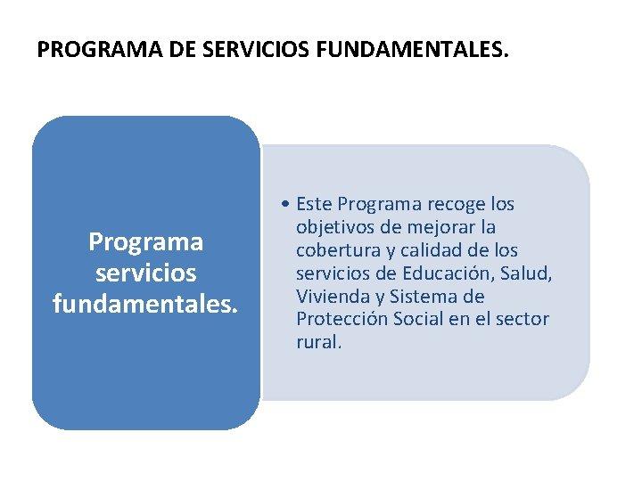 PROGRAMA DE SERVICIOS FUNDAMENTALES. Programa servicios fundamentales. • Este Programa recoge los objetivos de