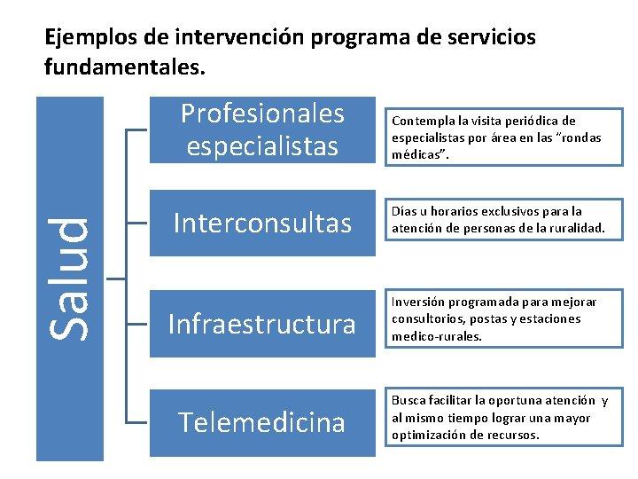 Salud Ejemplos de intervención programa de servicios fundamentales. Profesionales especialistas Contempla la visita periódica
