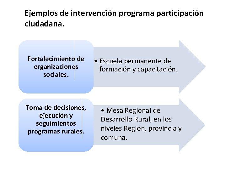 Ejemplos de intervención programa participación ciudadana. Fortalecimiento de organizaciones sociales. Toma de decisiones, ejecución