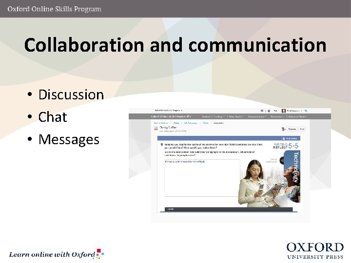 Collaboration and communication • Discussion • Chat • Messages