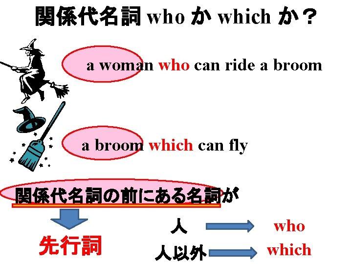 関係代名詞 who か which か? a woman who can ride a broom which can
