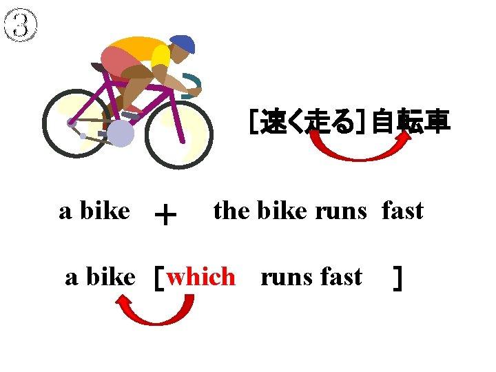 ③ [速く走る]自転車 a bike + the bike runs fast a bike [       which runs