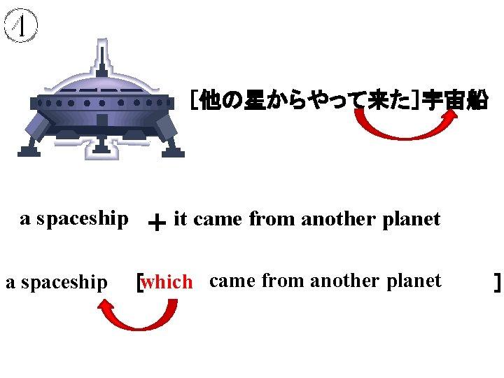 ④ [他の星からやって来た]宇宙船 a spaceship + it came from another planet a spaceship which came