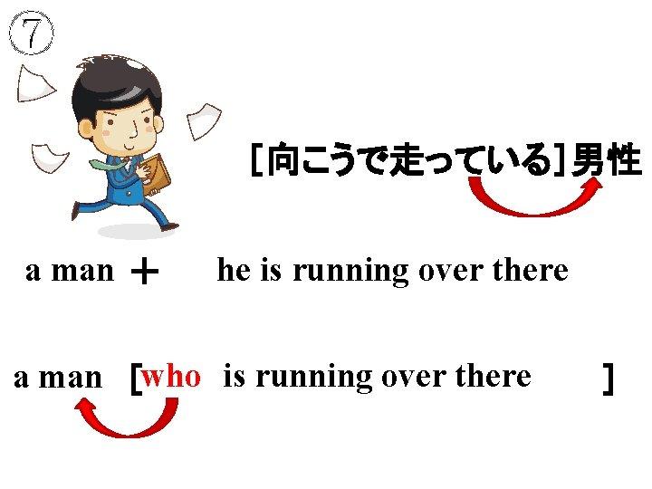 ⑦ [向こうで走っている]男性 a man + he is running over there who is running over