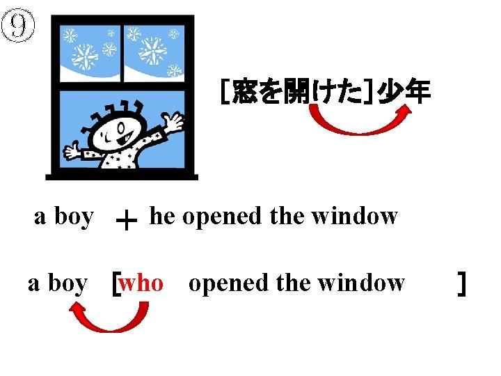 ⑨ [窓を開けた]少年 a boy + he opened the window a boy [     ] who opened