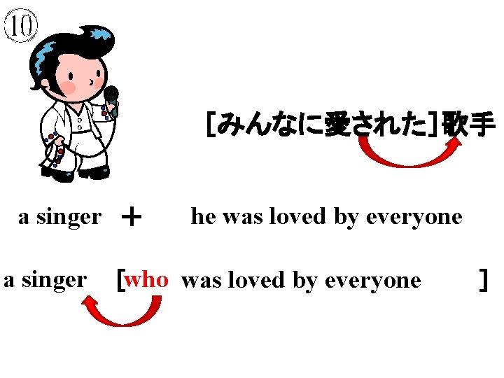 ⑩ [みんなに愛された]歌手 a singer + a singer he was loved by everyone who was