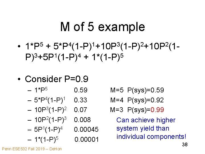 M of 5 example • 1*P 5 + 5*P 4(1 -P)1+10 P 3(1 -P)2+10