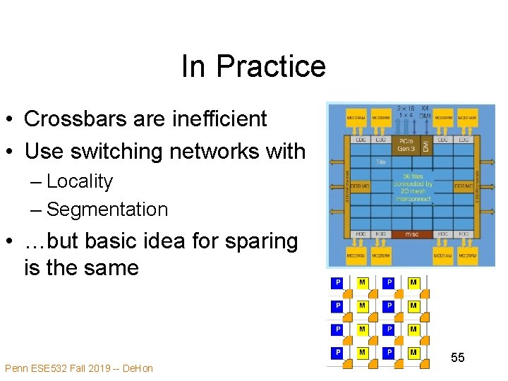 In Practice • Crossbars are inefficient • Use switching networks with – Locality –